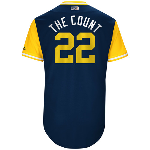 """Photo of Matt """"The Count"""" Garza Milwaukee Brewers Game-Used Players Weekend Jersey"""