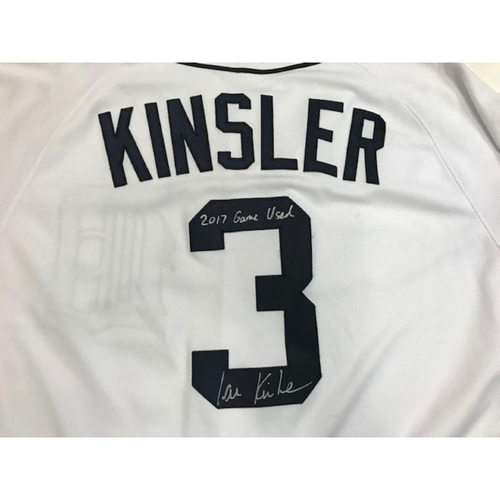 Photo of Autographed Game-Used Ian Kinsler Home Jersey