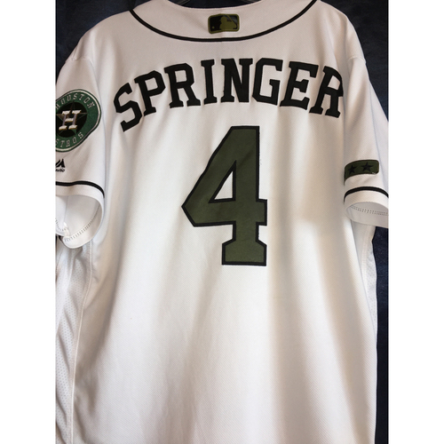 Photo of George Springer Game-Used Memorial Day Camo Jersey