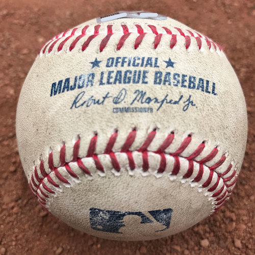 Photo of San Francisco Giants - 2017 Game-Used Baseball - Madison Bumgarner strikes out Kyle Schwarber (August 9th: also, pitch to Avila)