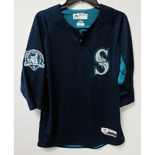 Photo of Ben Gamel Game-Used BP Jersey With Edgar Martinez Patch Worn 8-12-2017