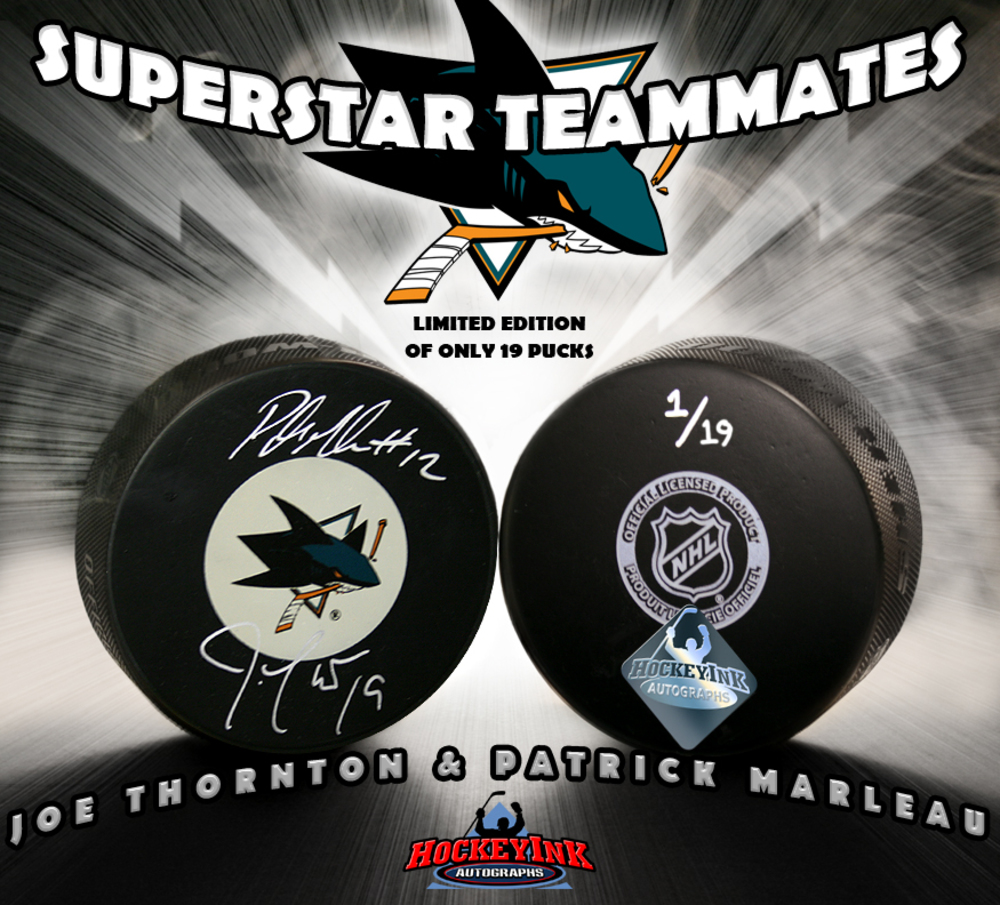 JOE THORNTON & PATRICK MARLEAU Signed San Jose Sharks Puck