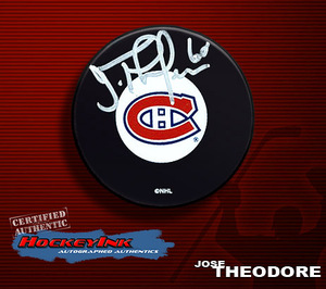 JOSE THEODORE Signed Montreal Canadiens Puck