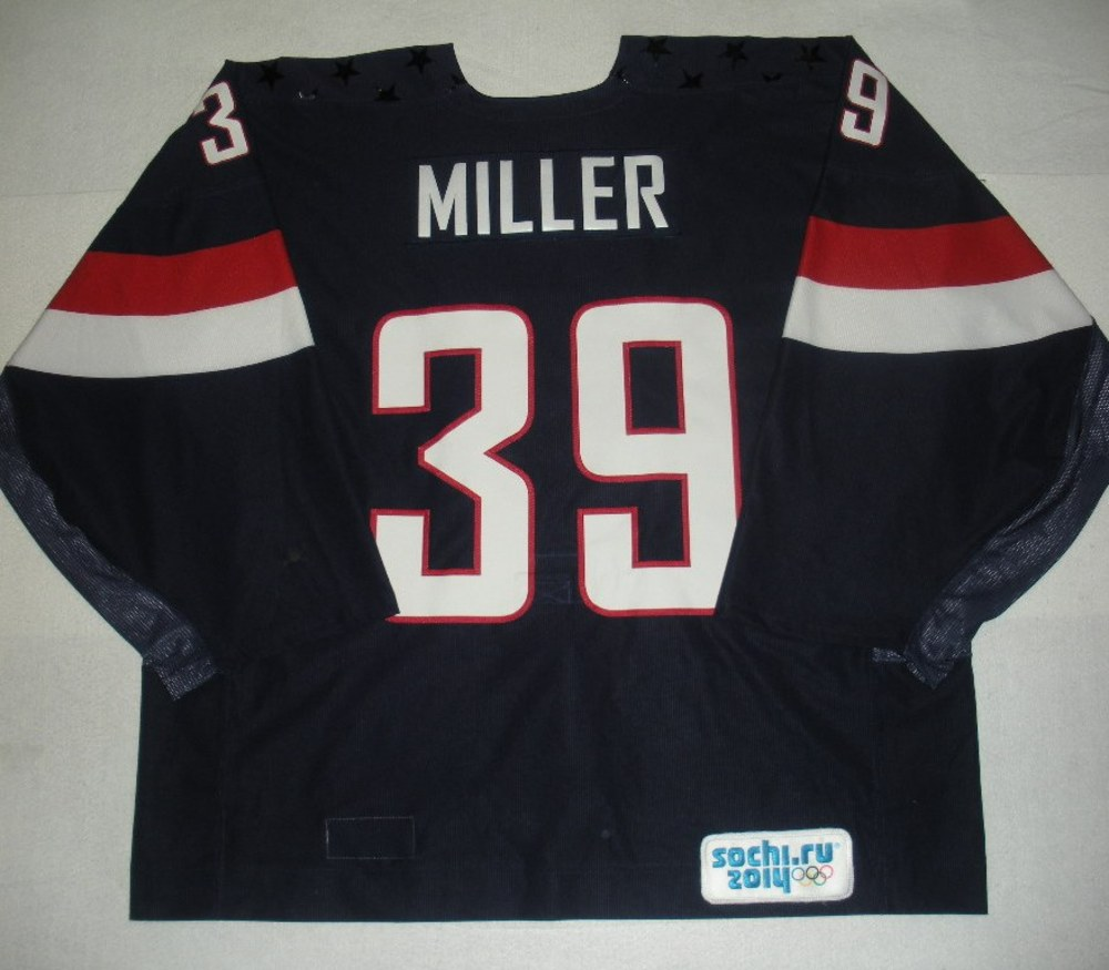 Ryan Miller - Sochi 2014 - Winter Olympic Games - Team USA Blue Game-Worn Backup-Only Jersey - Bronze Medal Game vs. Finland, 2/22/14