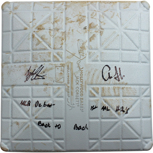 Photo of Aaron Judge & Tyler Austin Dual Signed Rays at Yankees 8-13-2016 Game-Used Second Base w/ MLB Debut, 1st ML HR's, Back To Back Insc (1st Inning)