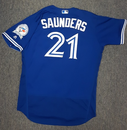 Photo of Authenticated Game Used Jersey - #21 Michael Saunders (April 9, 2016 vs BOS)