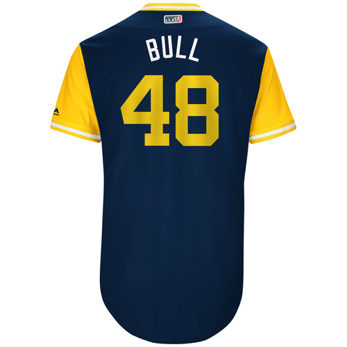 """Photo of Jared """"Bull"""" Hughes Milwaukee Brewers Game-Used Players Weekend Jersey"""