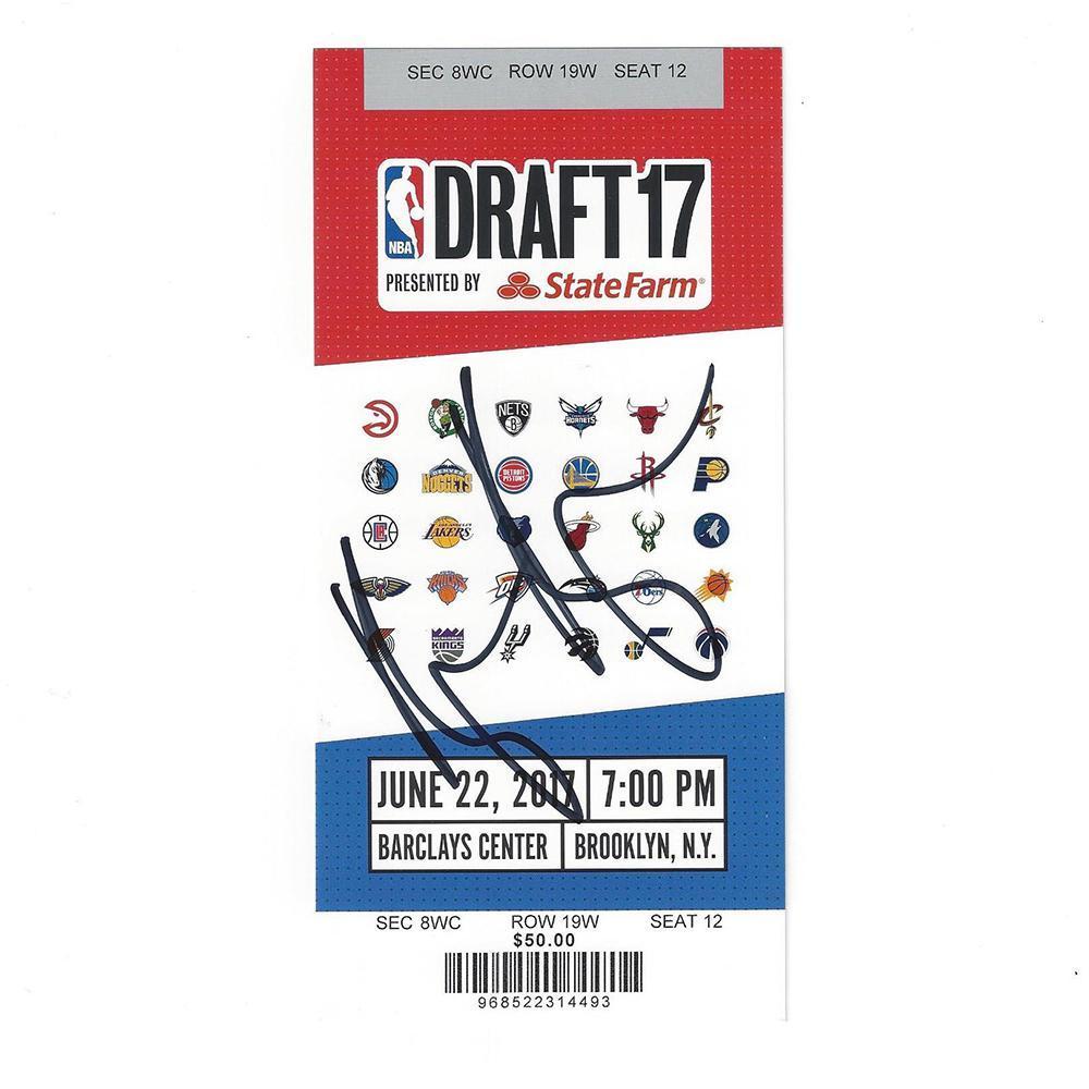 Kyle Kuzma - Los Angeles Lakers - 2017 NBA Draft - Autographed Draft Ticket