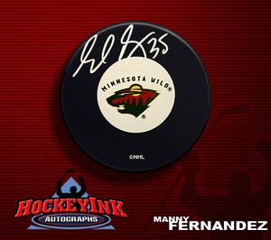 MANNY FERNANDEZ Signed Minnesota Wilds Puck