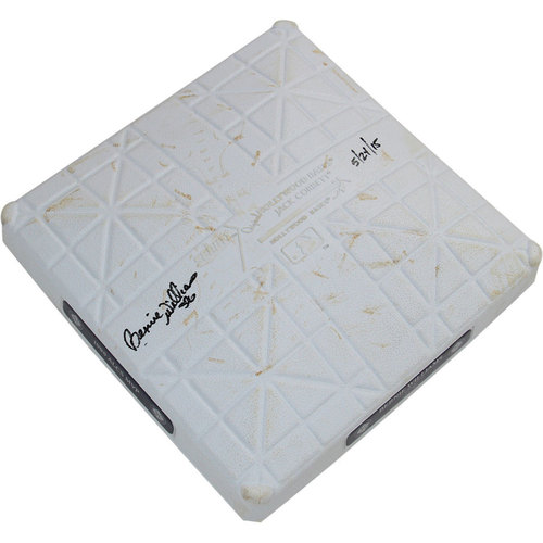 Photo of Bernie Williams Signed Rangers at Yankees 5-24-2015 Game-Used Second Base (MLB Auth)