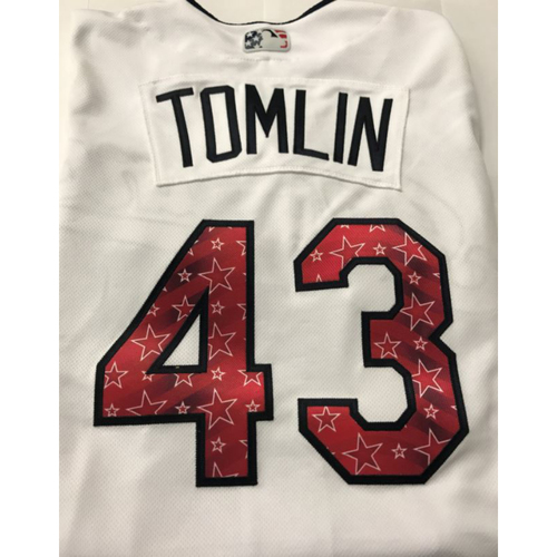 Photo of Josh Tomlin Game Worn Stars & Stripes Jersey