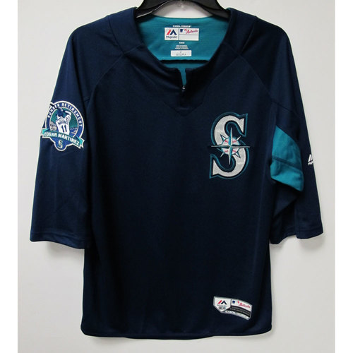 Photo of Jean Segura Game-Used BP Jersey With Edgar Martinez Patch Worn 8-12-2017