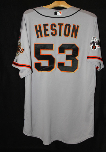 Photo of San Francisco Giants Chris Heston Game-Used Road Alternate Jersey - August 9th, 2015 vs. the Chicago Cubs