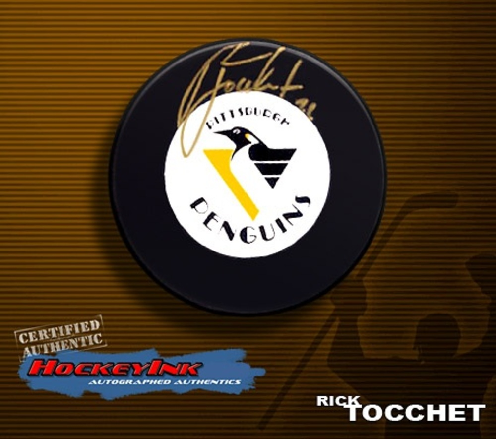 RICK TOCCHET Signed Pittsburgh Penguins Hockey Puck