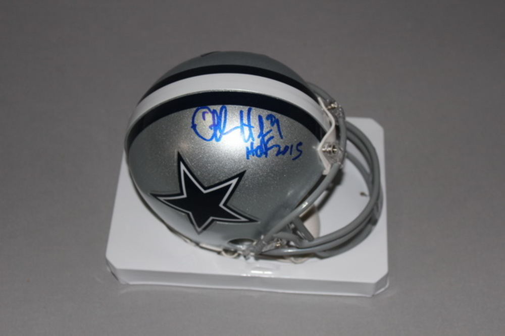 HOF - COWBOYS CHARLES HALEY SIGNED COWBOYS MINI HELMET