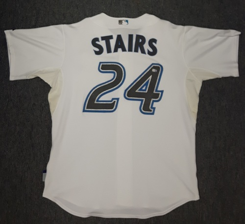 Photo of Authenticated Game Used Jersey - #24 Matt Stairs (April 4, 2008 vs BOS). Stairs went 1-for-3 with his first HR of the season. Home Opener 2008.