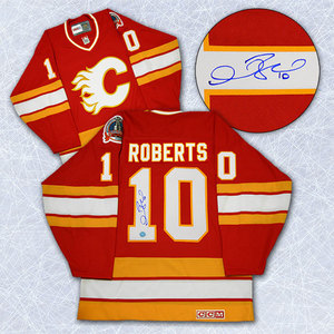 Gary Roberts Calgary Flames Autographed Retro CCM 1989 Staney Cup Jersey