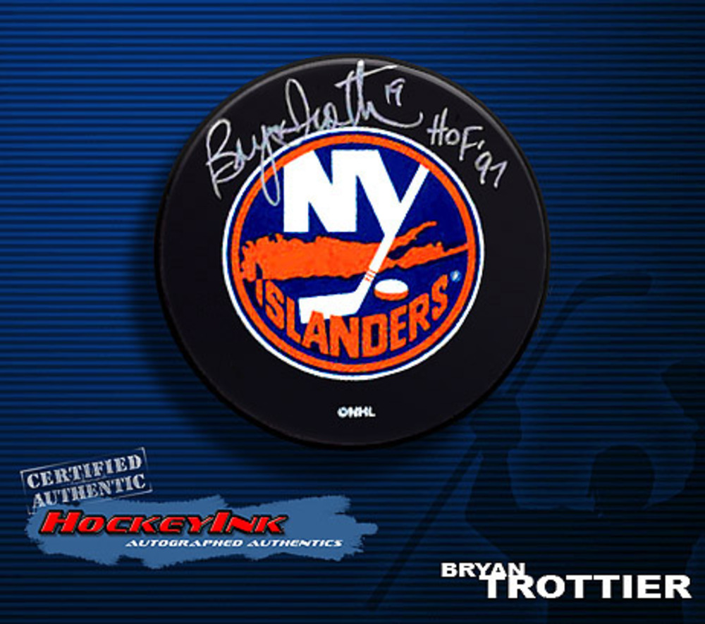 BRYAN TROTTIER Signed New York Islanders Hockey Puck