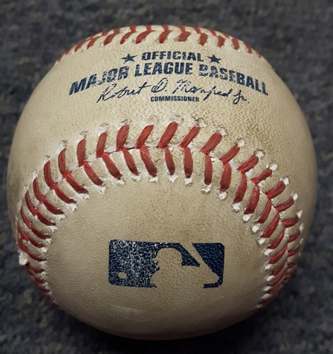 Authenticated Game Used Baseball - #20 Josh Donaldson. Home run to left field by Josh Donaldson off Michael Pineda. Bottom of first inning. HR #4 of the Season. (June 2, 2017)