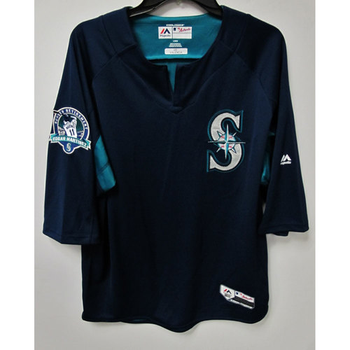 Photo of Danny Valencia Game-Used BP Jersey With Edgar Martinez Patch Worn 8-12-2017