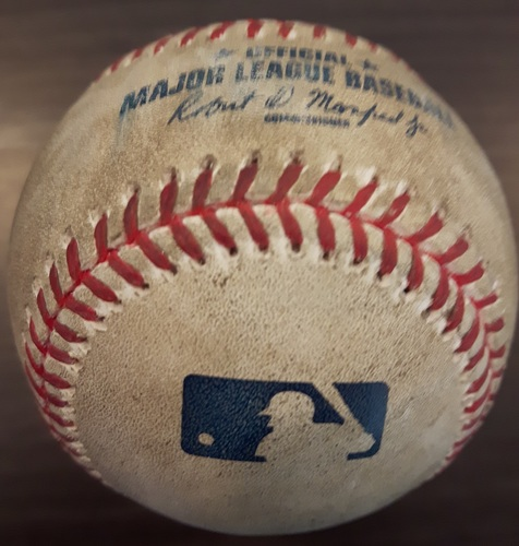 Photo of Authenticated Game Used Baseball - Joe Biagini Strikeout on May 28, 2017 (Top 6 vs Joey Gallo)