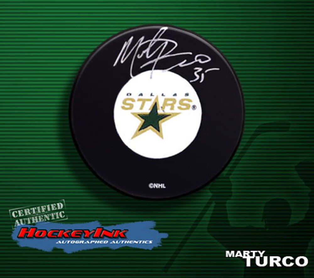 MARTY TURCO Signed Dallas Stars Hockey Puck