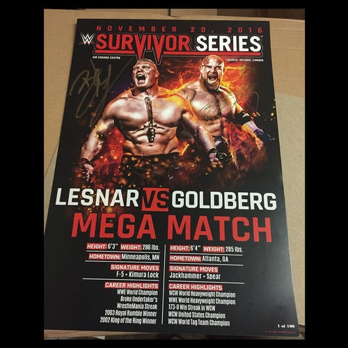 Photo of Brock Lesnar & Goldberg SIGNED Survivor Series Match Card (#1 of 100)