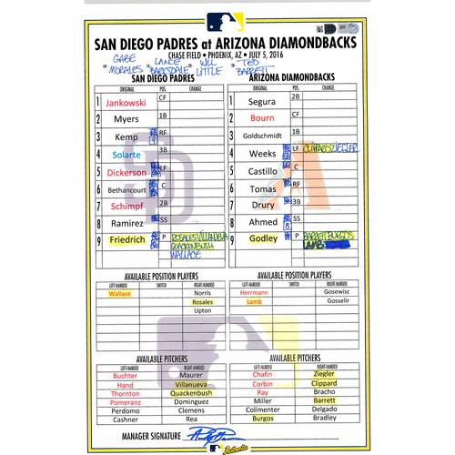 Photo of San Diego Padres Game-Used Lineup Card vs. Arizona Diamondbacks on July 5, 2016, 7-5 Arizona Victory