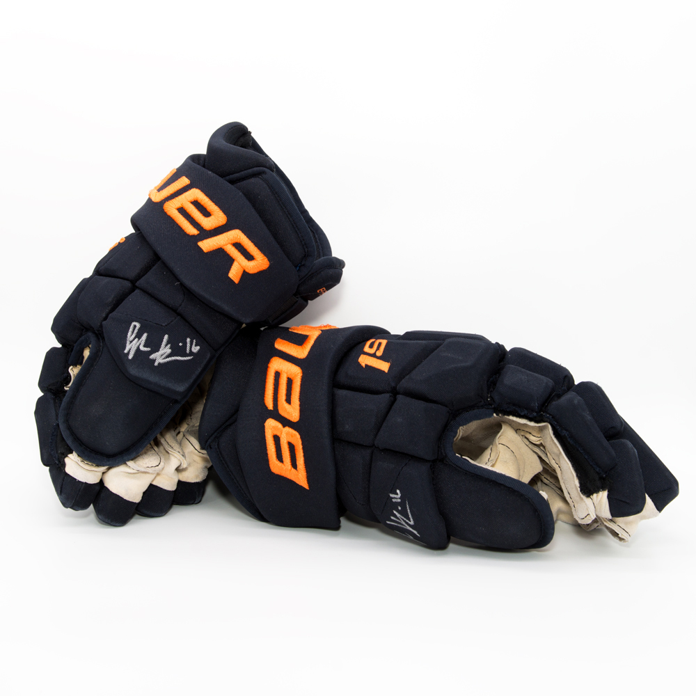 Jujhar Khaira #16 - Autographed 2017-18 Edmonton Oilers Game-Worn Bauer Supreme 1S Hockey Gloves Worn During Training Camp And Pre-season