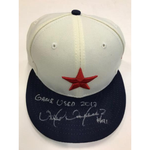 Photo of Autographed Game-Used Detroit Stars Cap: Victor Martinez