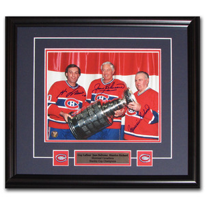 Tri-Habs w/Cup Autographed 8X10 Framed Photo - M. Richard/Beliveau/Lafleur (Montreal Canadiens)