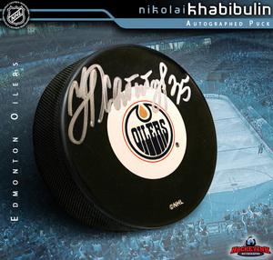 NIKOLAI KHABIBULIN Signed Edmonton Oilers Puck