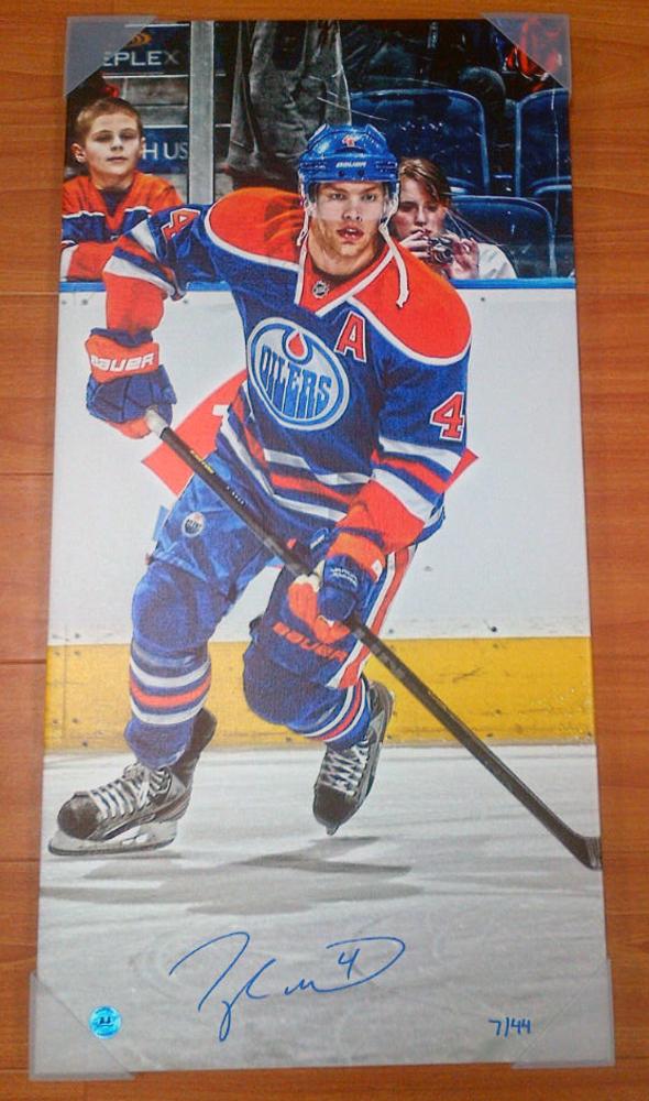 TAYLOR HALL Edmonton Oilers AUTOGRAPHED 14x28 Art Canvas #/44