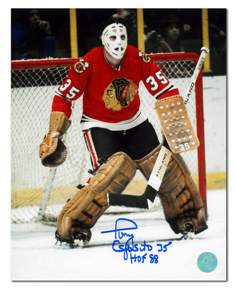 Tony Esposito Chicago Blackhawks Autographed Hockey Goalie 8x10 Photo