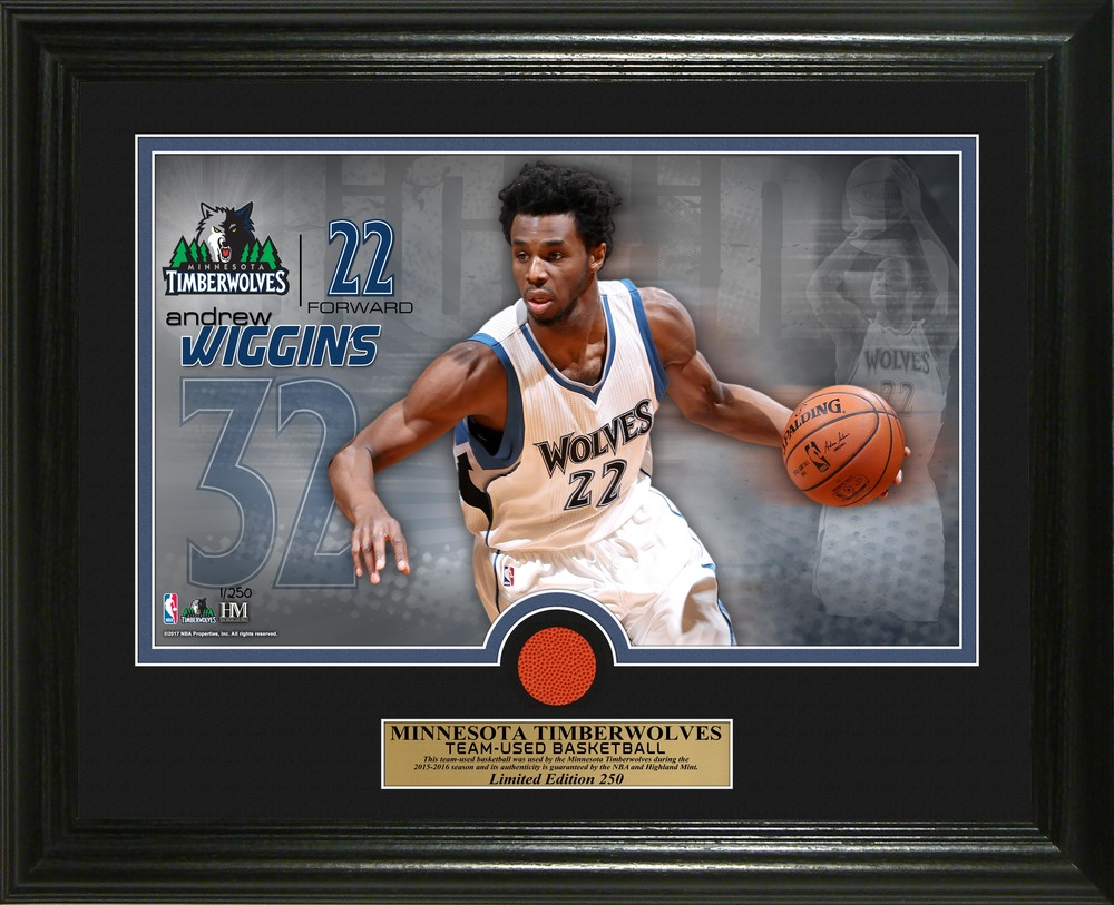 Serial #1! Andrew Wiggins Game-Used Basketball Photo Mint