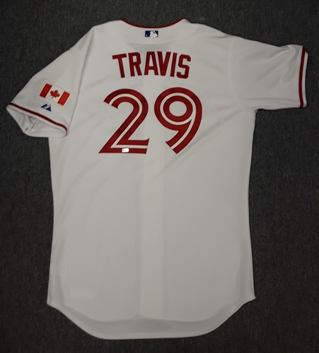 Photo of Authenticated Game Used Jersey - #29 Devon Travis. Canada Day 2015 Jersey. Rookie Season