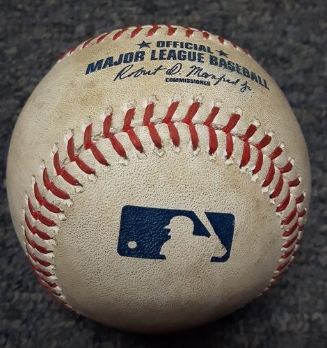 Authenticated Game Used Baseball - #28 Steve Pearce. Home run hit by Steve Pearce over left field wall to Rogers Centre Ring Rd. Bottom 3 vs Quintana. Home Run #5 of the Season. (June 16, 2017)