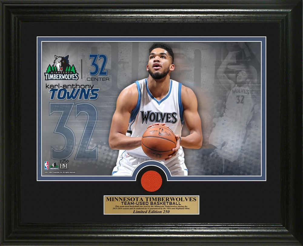 Serial #1! Karl Anthony Towns Game-Used Basketball Photo Mint