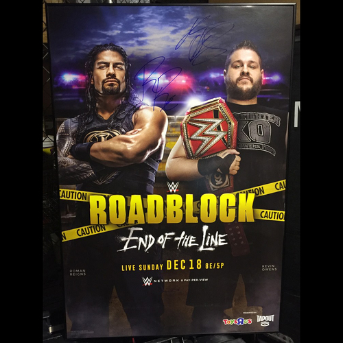 Photo of Roman Reigns & Kevin Owens SIGNED Framed Roadblock Poster