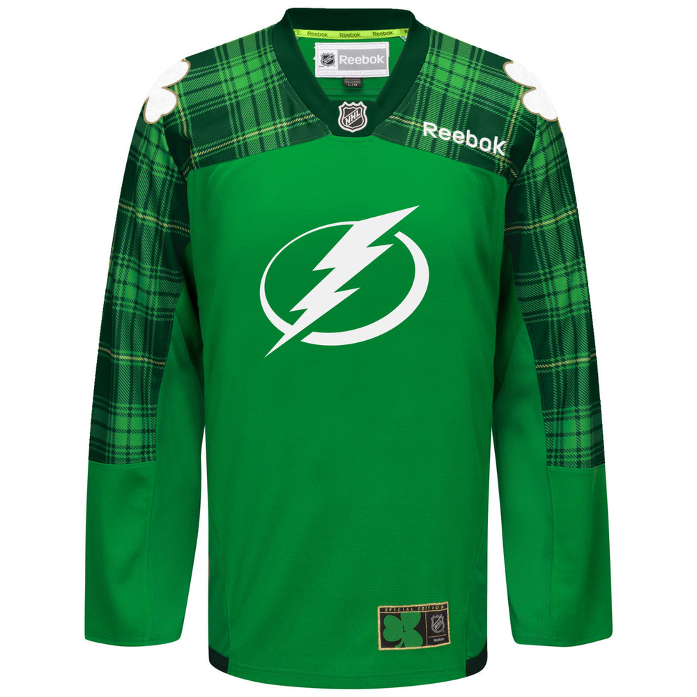 #5 Jason Garrison Warmup-Worn Green Jersey - Tampa Bay Lightning