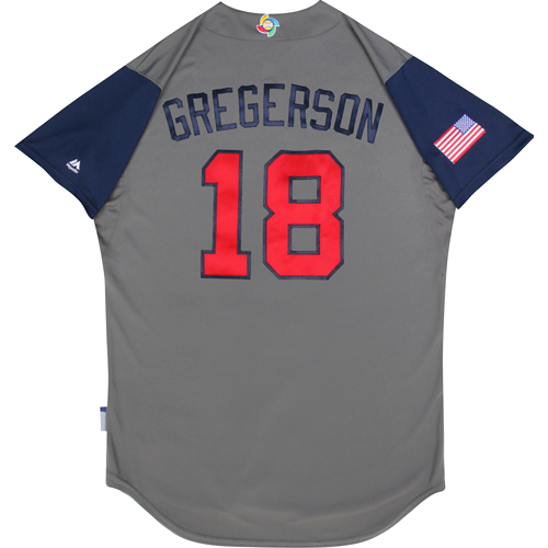2017 World Baseball Classic: (USA vs. DR)  Round 1 - Luke Gregerson Team USA Game-Used Road Gray Jersey - Size 48