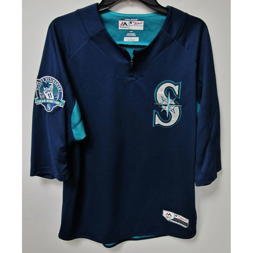 Photo of Kyle Seager Game-Used BP Jersey With Edgar Martinez Patch Worn 8-12-2017