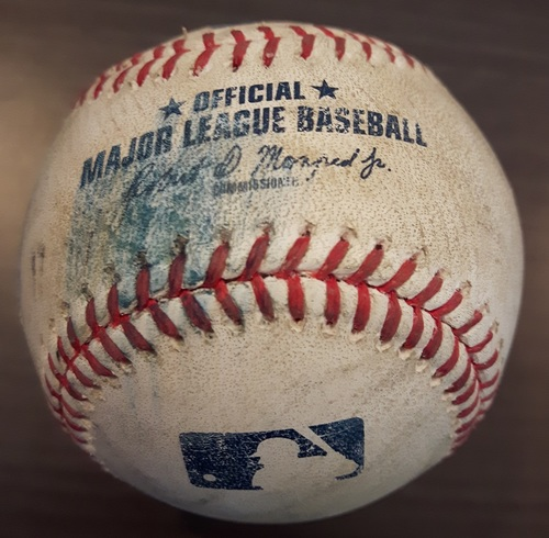 Photo of Authenticated Game Used Baseball - Roberto Osuna Strikeout on June 28, 2017 (Top 9 vs Adam Jones)
