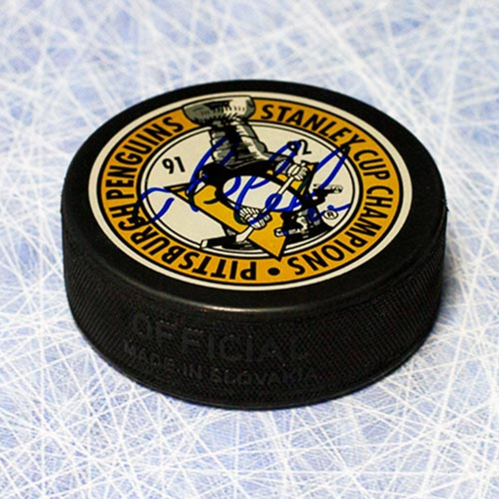 Mario Lemieux Pittsburgh Penguins Autographed Stanley Cup Champions Puck