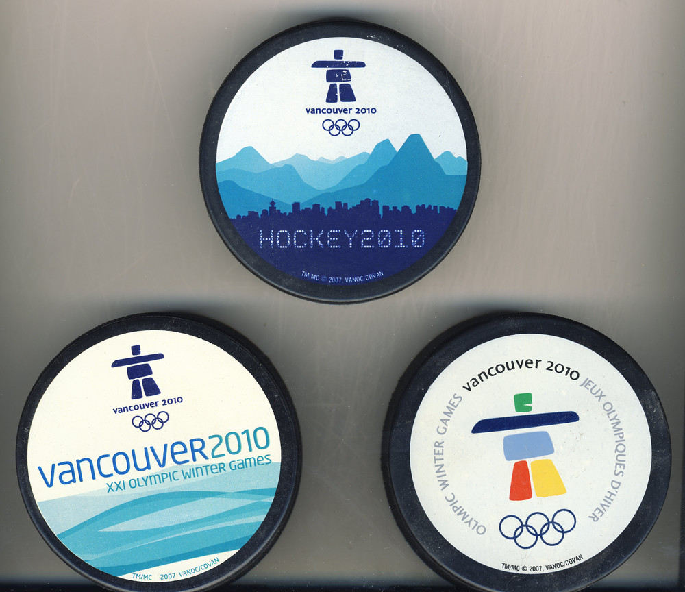 Lot of 3 Vancouver 2010 Olympic Winter Games Comemorative Hockey Pucks
