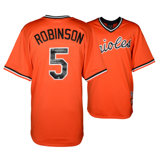 Photo of Brooks Robinson Baltimore Orioles Autographed Orange Throwback Jersey with Human Vacuum Cleaner Inscription