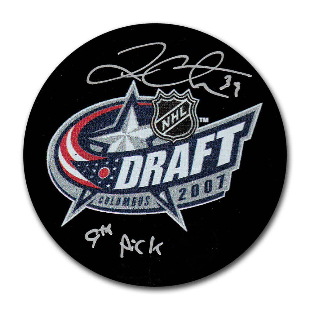 Logan Couture Autographed 2007 NHL Entry Draft Puck w/#9 PICK Inscription