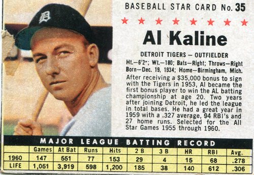 Photo of 1961 Post #35B Al Kaline BOX
