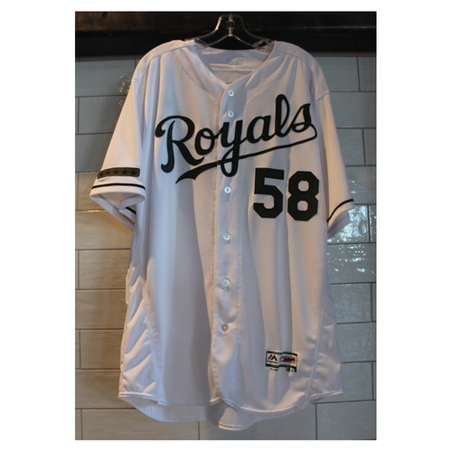 Photo of Game-Used Dave Eiland Memorial Day Home jersey (5/29/17 DET at KC) (Size 48)