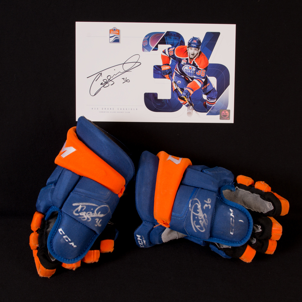 Drake Caggiula #36 - Autographed 2016-17 Rookie Season Edmonton Oilers Game-Worn CCM Hockey Gloves - Includes Autographed Oversize Player Card!